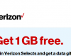 Get 1 GB Free from Verizon Selects